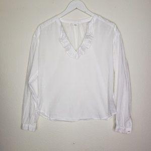 Gap White Ruffled V Neck Textured Blouse